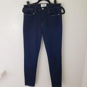 FRAME Le High Skinny Darkwash Jeans